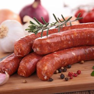 raw sausages on board